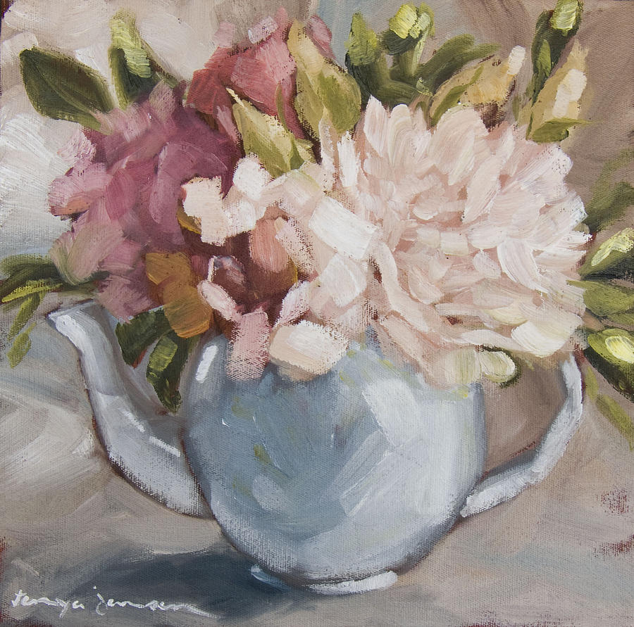 Teapot With Peonies Painting  - Teapot With Peonies Fine Art Print