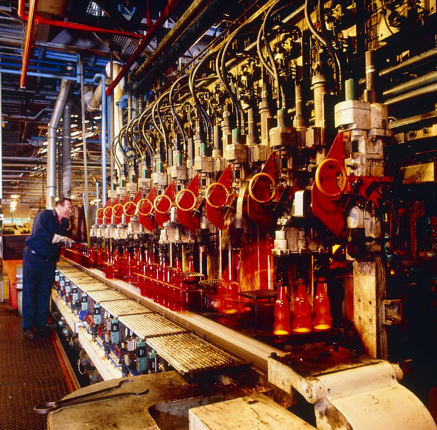 Technician Checks Production Line Of Glass Bottles Photograph