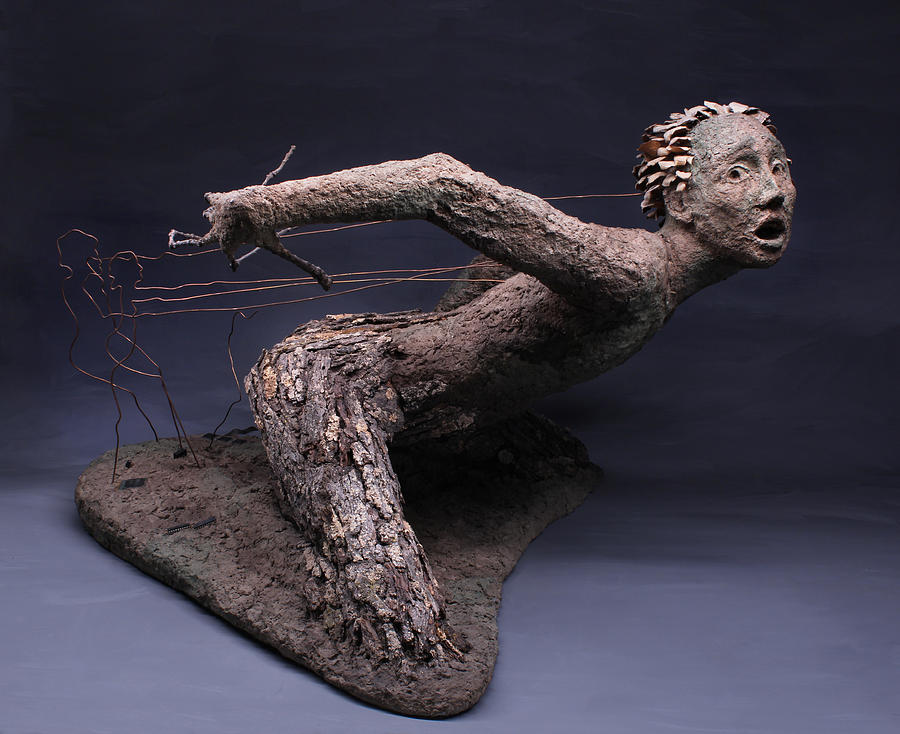 Art; Adam Long; Adam; Long;sculpture;nature Art; Environmental Art;nature;natural;environment;environmental; Green;surreal Surrealism;surrealist;fantasy;brown;figure; Human; Person; Portrait; Face; Portraits;tree;stick;branch; Texture;lichen;rough;bark;movement;dance;move;lift; Attack; Probe; Power; Pornography; Porn; Evil; Fear; Scare; Scary; Copper;assemblage;danger;fungus;background; Pose; Man; Woman;female;male;surrealistic;fantastic;ent;ents;lord Of The Rings;tolkien;porn Sculpture - Technological Advances by Adam Long