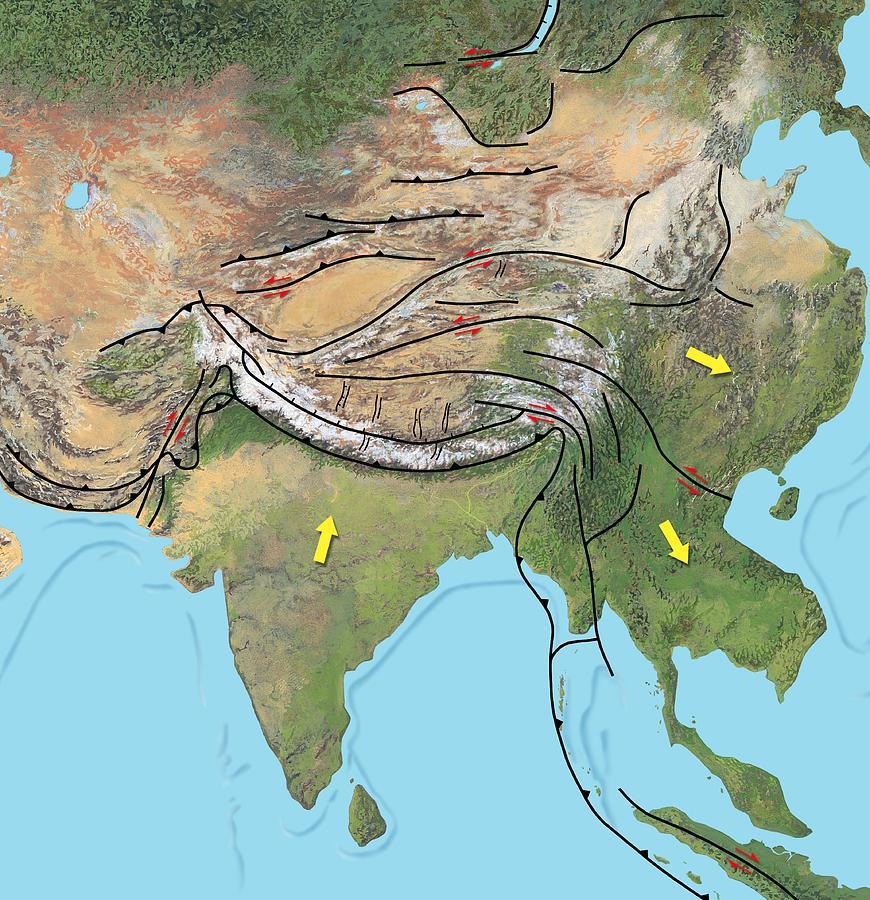 Tectonic Map Of Asia Photograph
