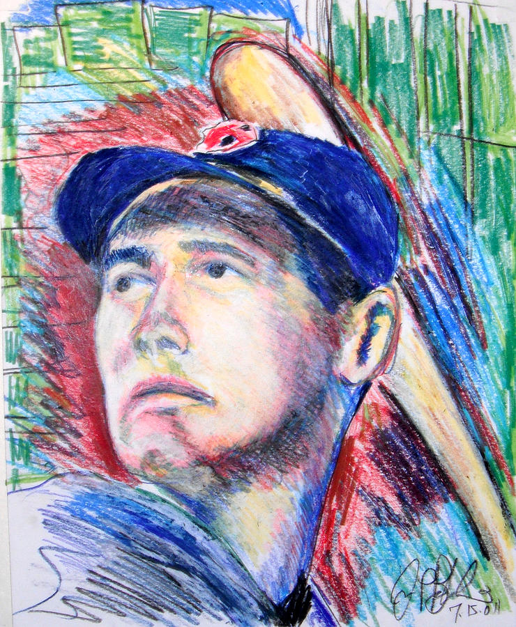 Ted Williams Boston Redsox  Drawing  - Ted Williams Boston Redsox  Fine Art Print