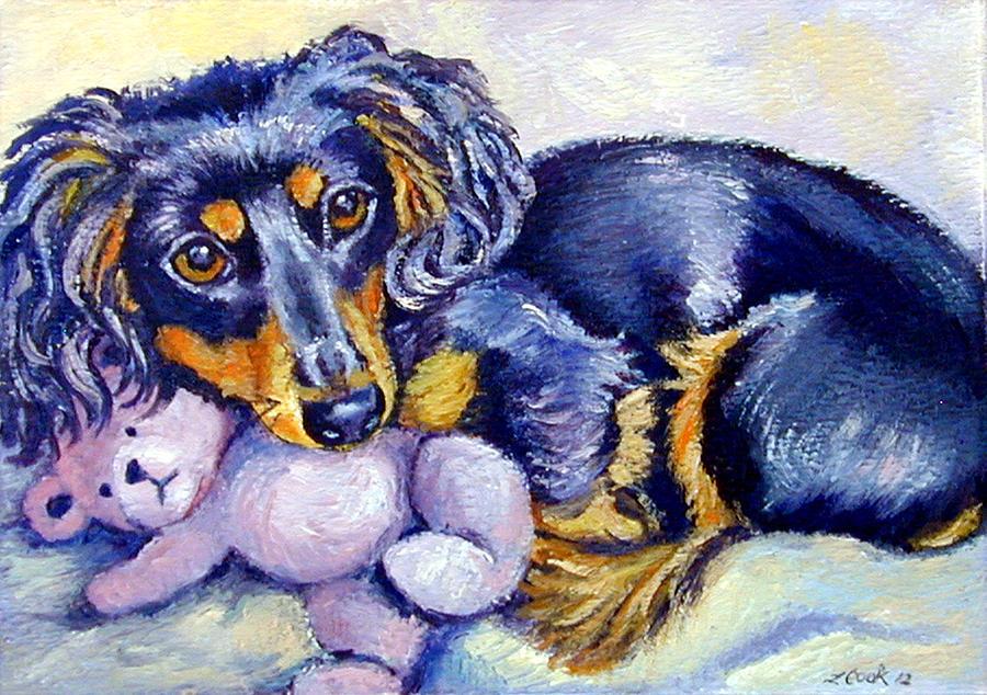 Dachshund Painting - Teddy Cuddles - Dachshund by Lyn Cook