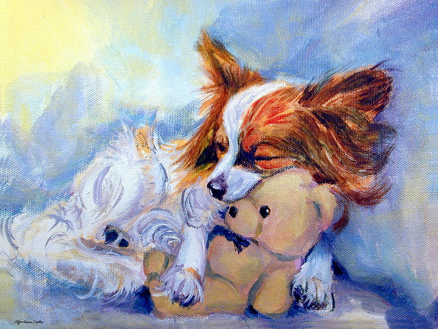 Teddy Hugs - Papillon Dog Painting  - Teddy Hugs - Papillon Dog Fine Art Print
