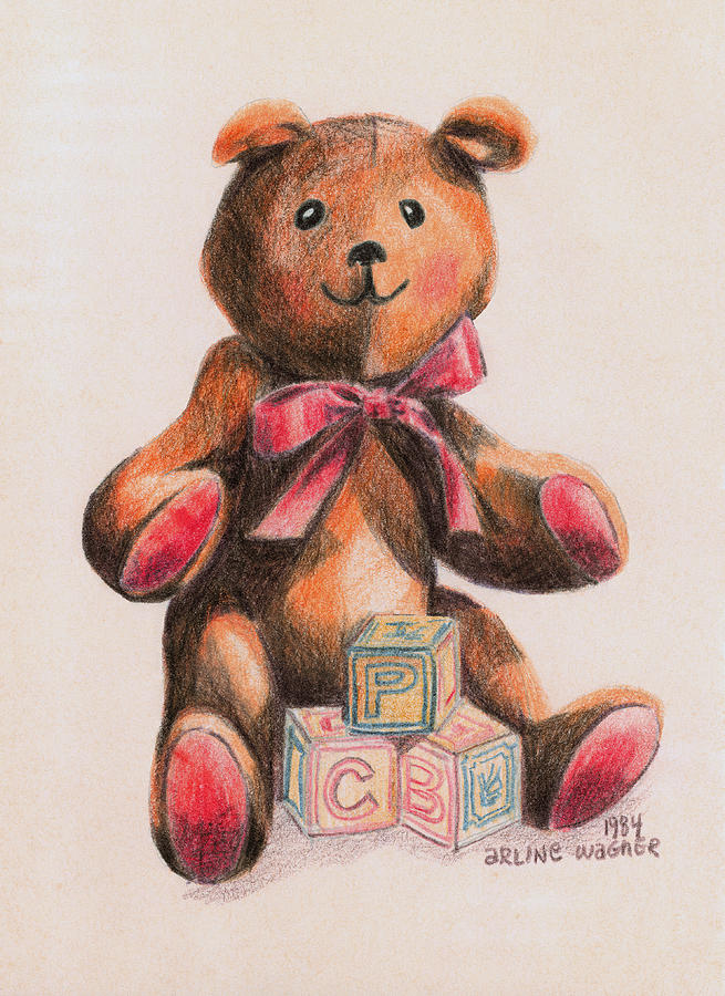 Teddy With Blocks Drawing  - Teddy With Blocks Fine Art Print