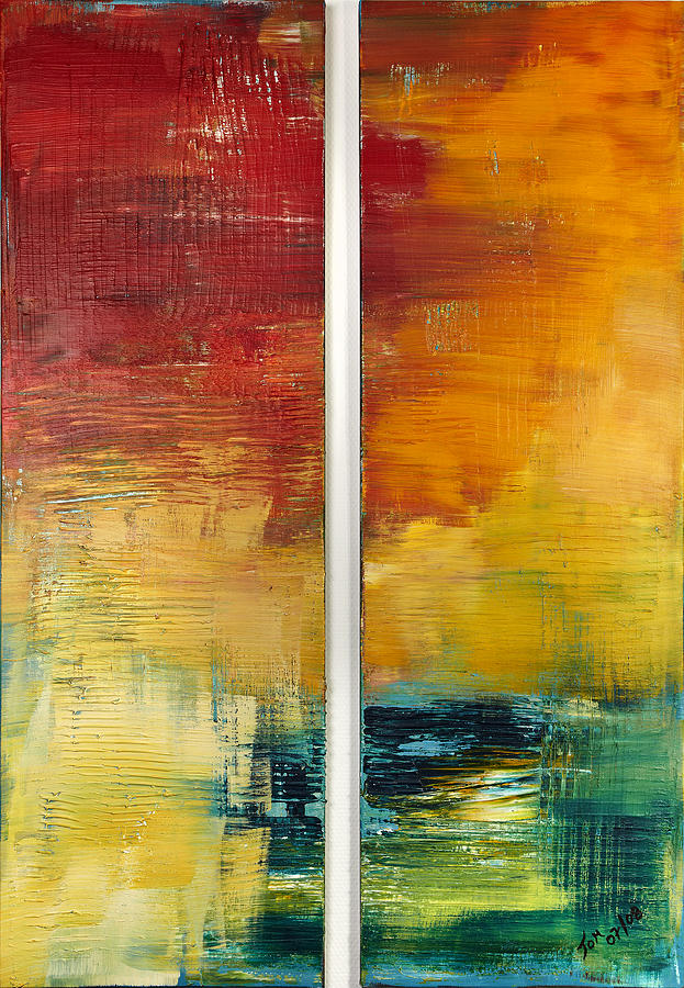 Abstract Art Painting - Teich Im Abendrot by Thomas Kleiner