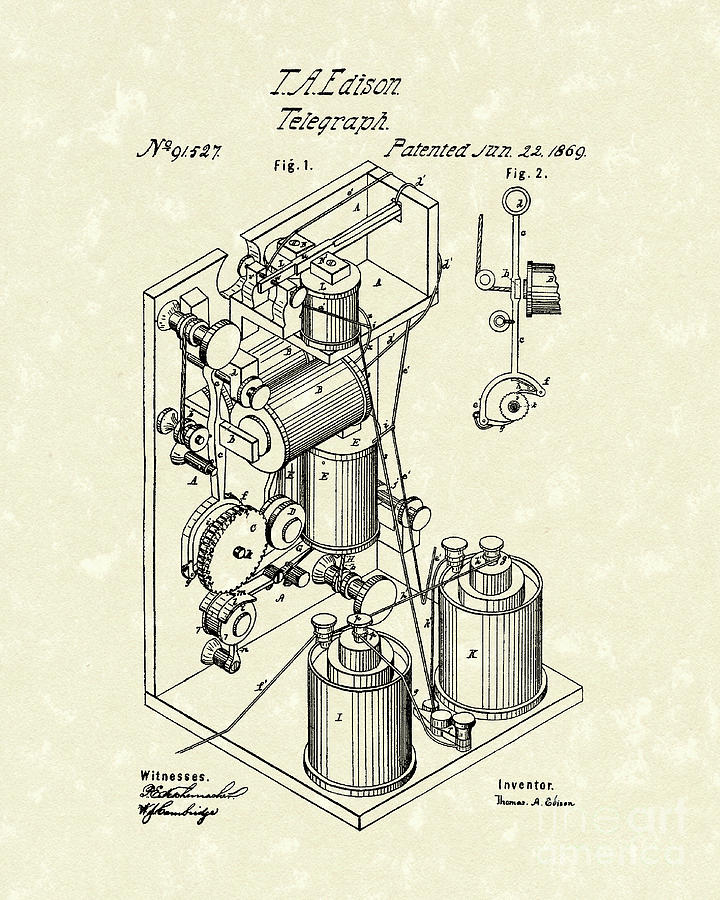 Telegraph 1869 Patent Art Drawing