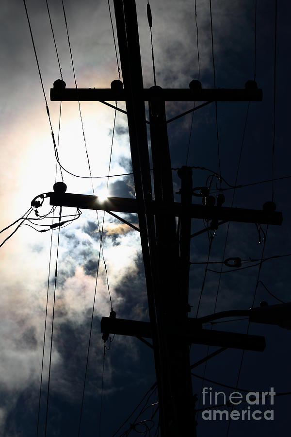 Telephone And Electric Wires And Pole In Silhouette . 7d13615 Photograph