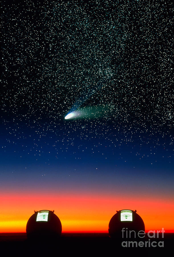 Telescope Domes And Hale-bopp Comet Photograph