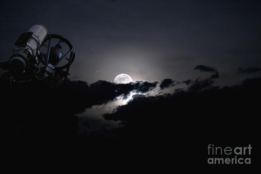 Telescope Pointed Out To The Night Sky Photograph  - Telescope Pointed Out To The Night Sky Fine Art Print