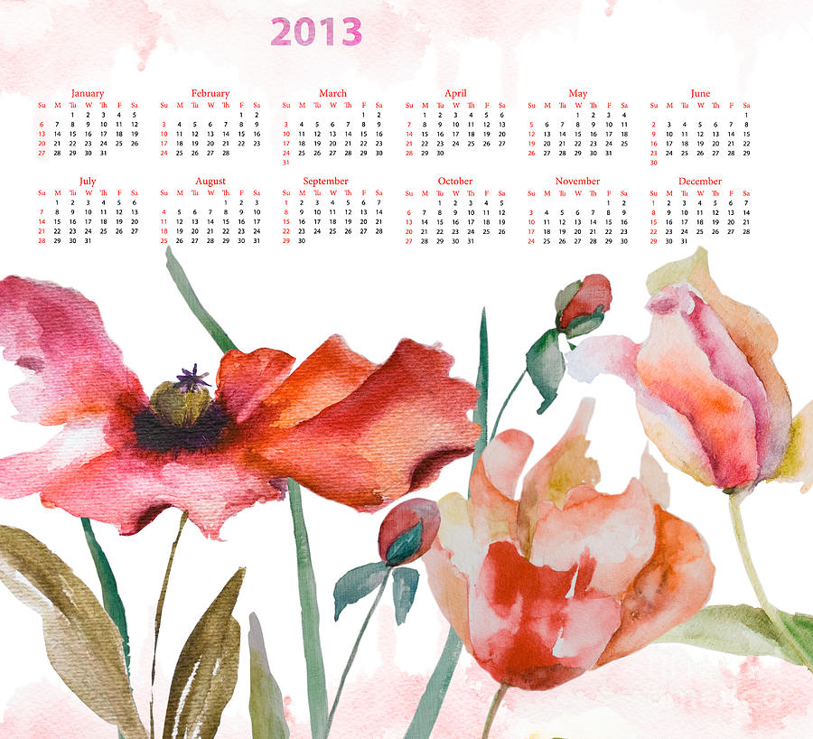 Template For Calendar 2013 Painting  - Template For Calendar 2013 Fine Art Print