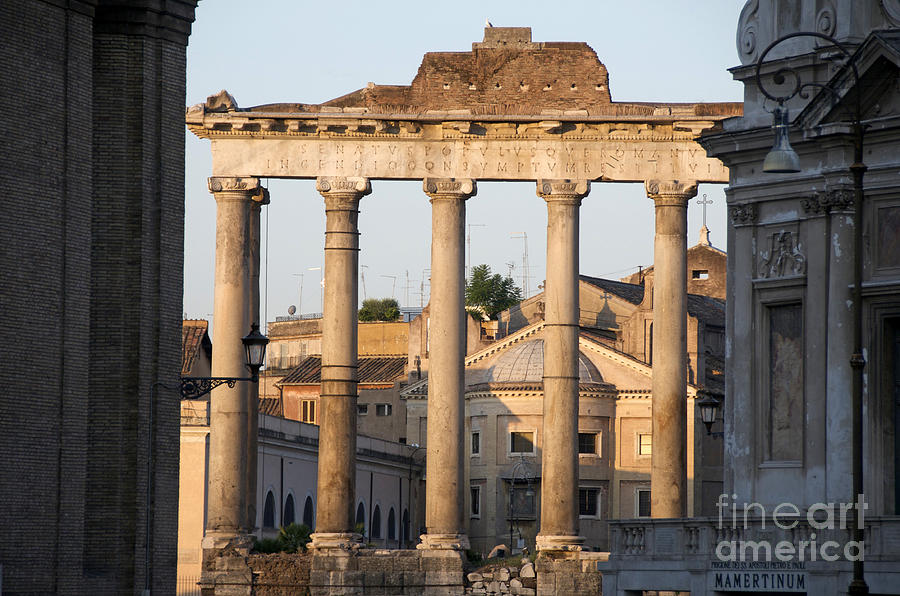 Temple Of Saturn In The Forum Romanum. Rome Photograph