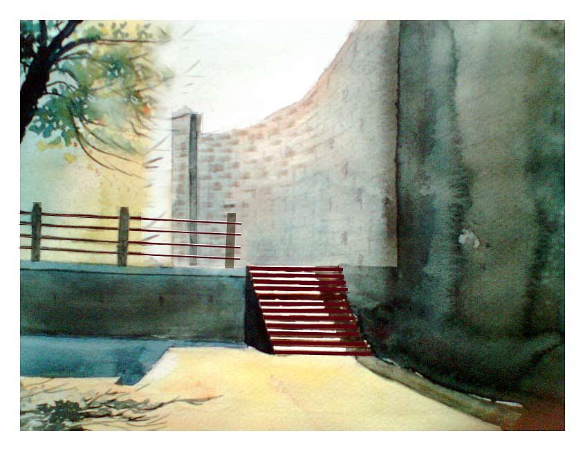 Temple Steps Painting  - Temple Steps Fine Art Print