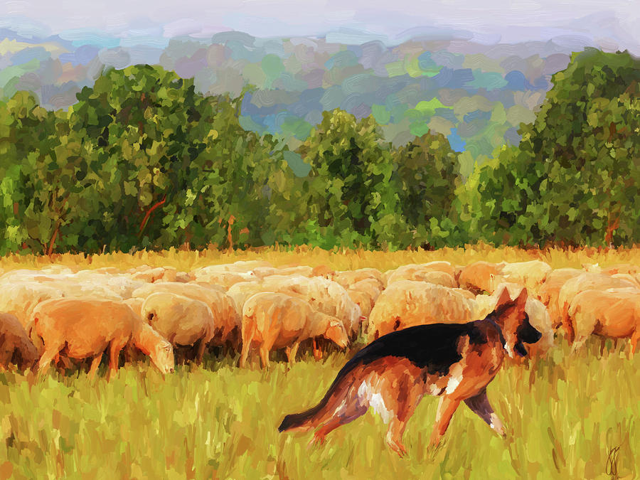 Tending The Flock Painting