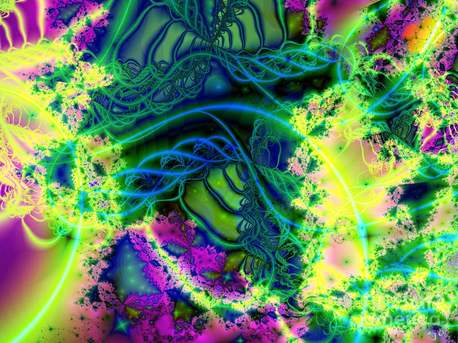 Tendrils Of Blue Yellow And Green Digital Art  - Tendrils Of Blue Yellow And Green Fine Art Print