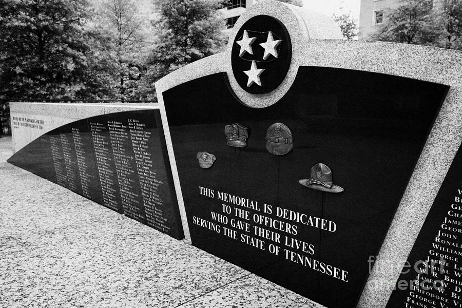 tennessee state police officer memorial war memorial plaza Nashville Tennessee USA Photograph  - tennessee state police officer memorial war memorial plaza Nashville Tennessee USA Fine Art Print