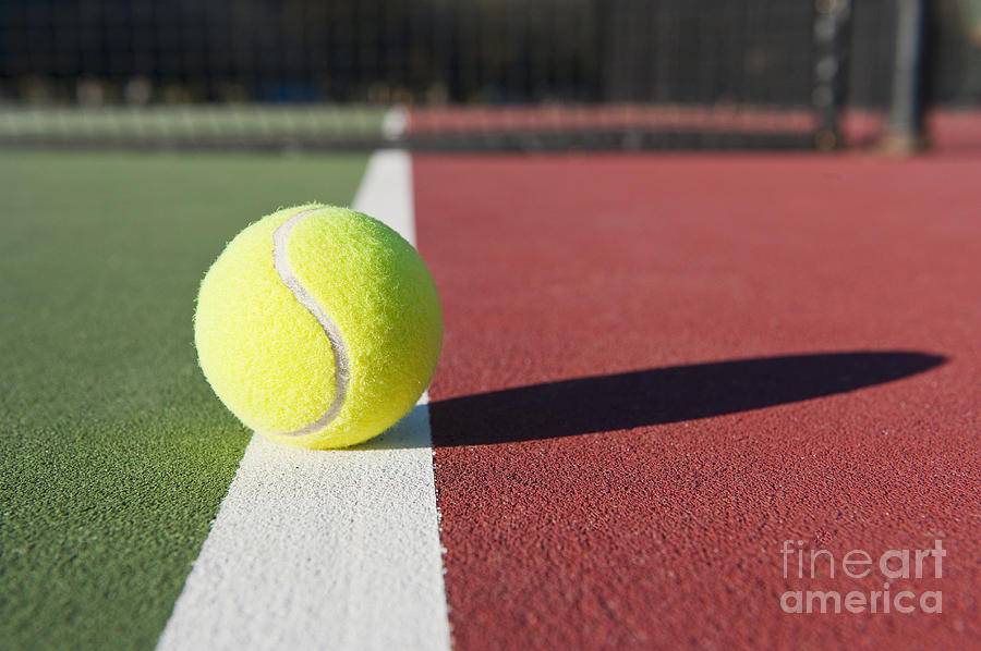 Tennis Ball Sitting On Court Photograph  - Tennis Ball Sitting On Court Fine Art Print