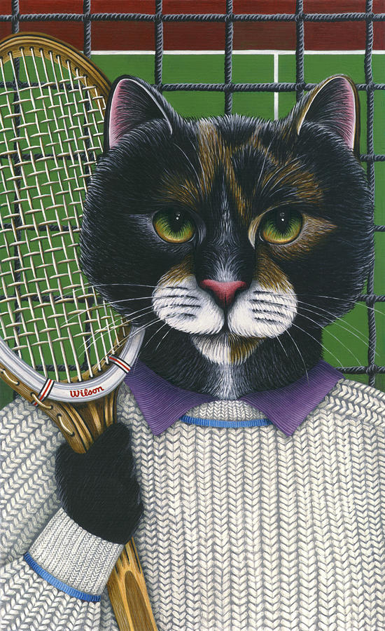 Tennis Cat Painting  - Tennis Cat Fine Art Print