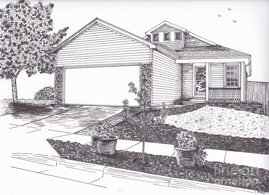 Teresas House Drawing  - Teresas House Fine Art Print