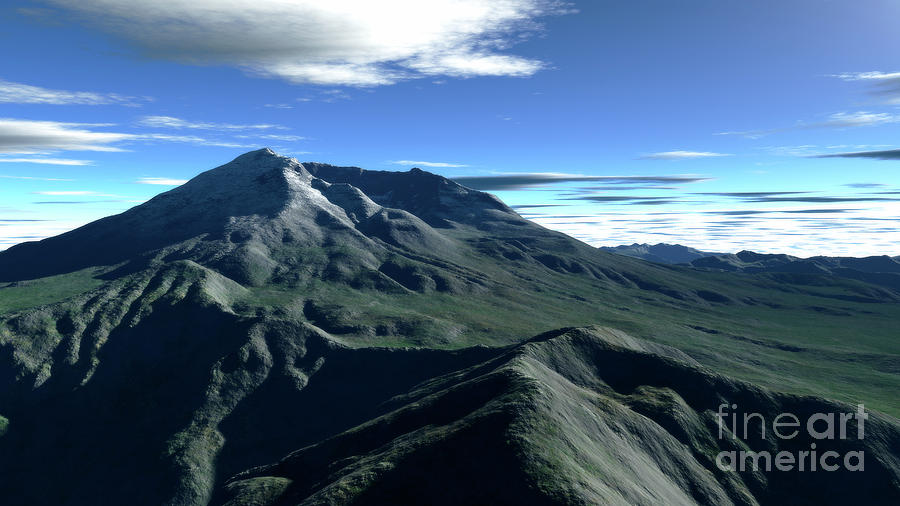 Terragen Render Of Mt. St. Helens Digital Art  - Terragen Render Of Mt. St. Helens Fine Art Print