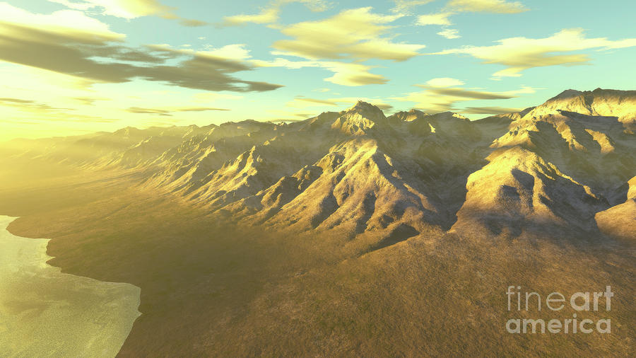 Terragen Render Of Mt. Whitney Digital Art