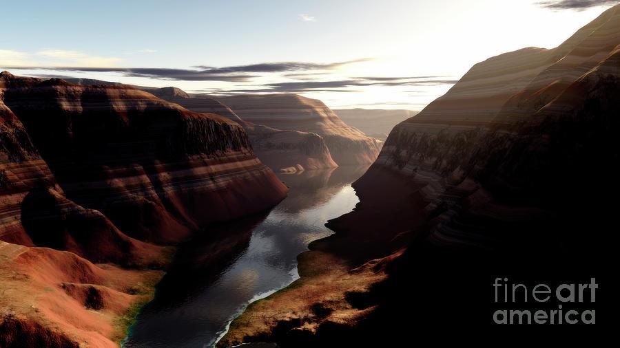 Horizontal Digital Art - Terragen Render Of Trail Canyon by Rhys Taylor