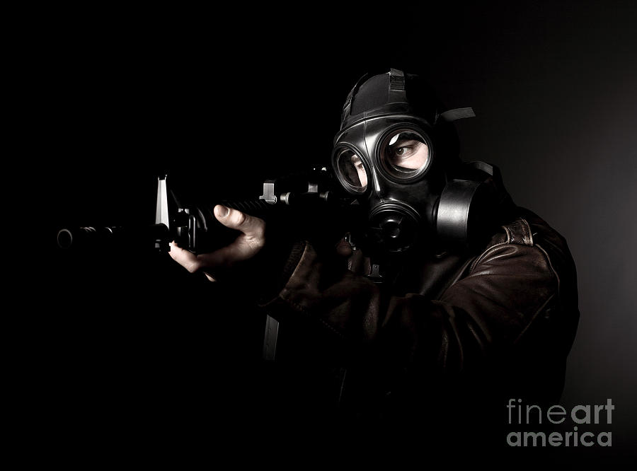 Terrorist With Gas Mask Photograph  - Terrorist With Gas Mask Fine Art Print