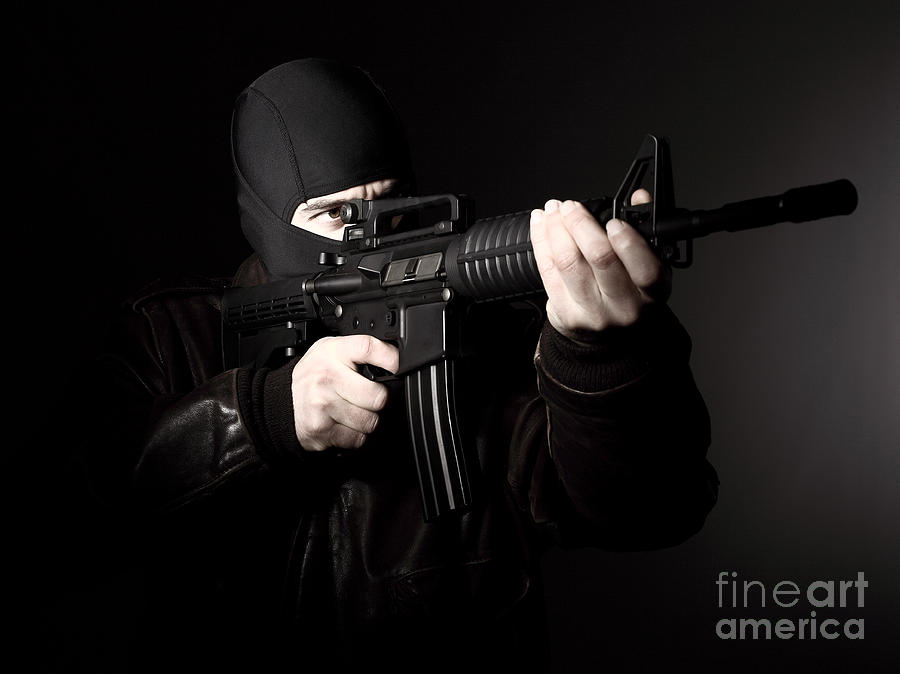 Terrorist With Rifle Photograph  - Terrorist With Rifle Fine Art Print