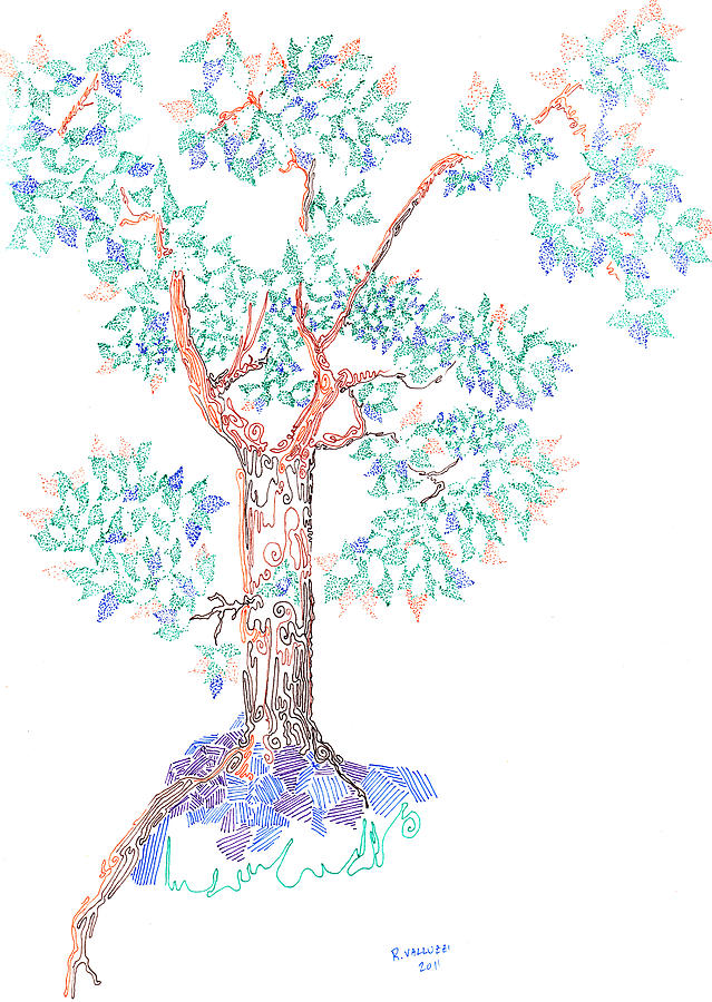 Tesselated Tree Drawing  - Tesselated Tree Fine Art Print