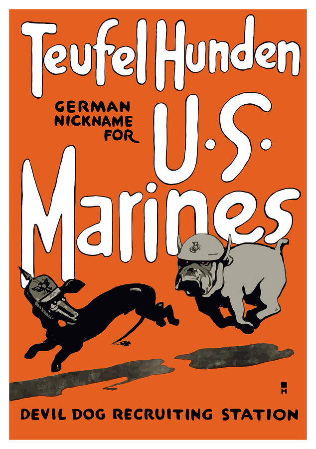 Teufel Hunden German Nickname For Us Marines Painting  - Teufel Hunden German Nickname For Us Marines Fine Art Print