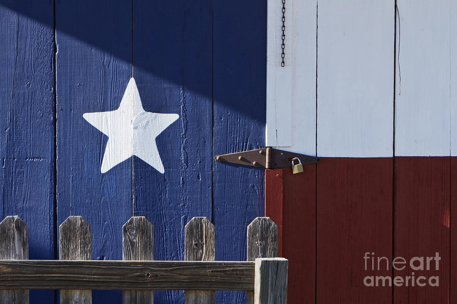 Texas Flag Painted On A House Photograph