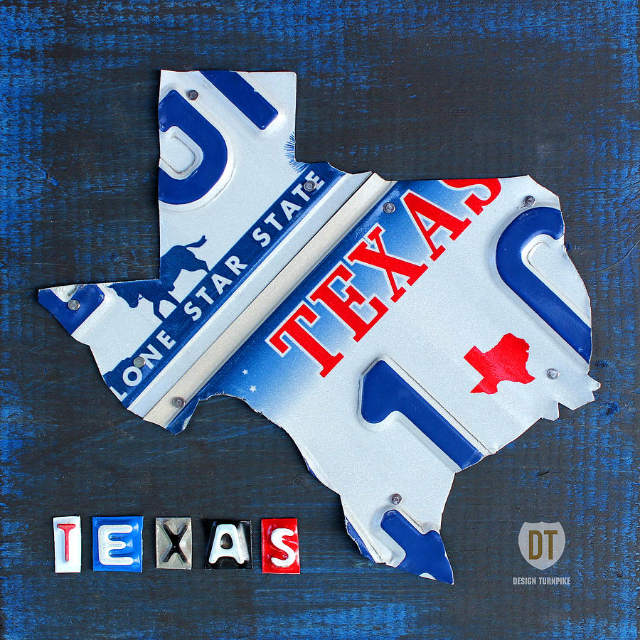 Texas License Plate Map Mixed Media  - Texas License Plate Map Fine Art Print