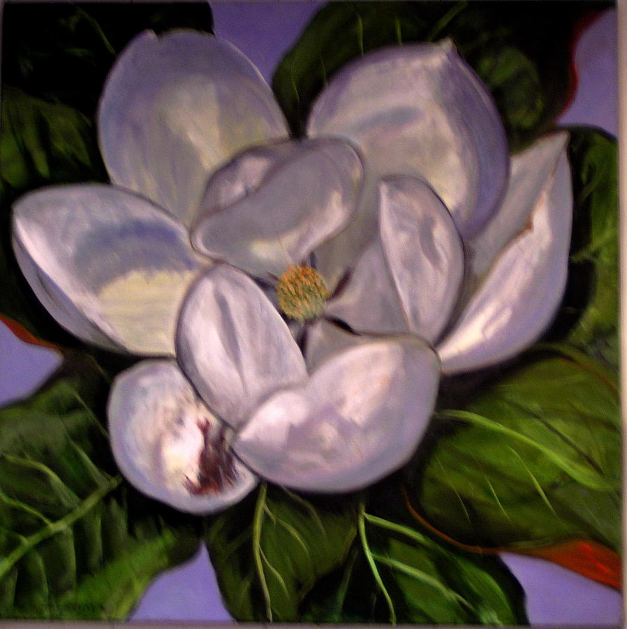 Texas Magnolia Flower Painting by Celine Raphael-Leygues