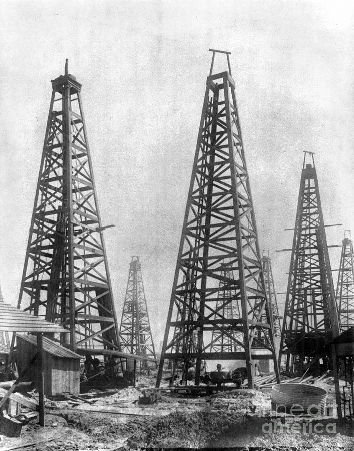 Texas: Oil Derricks, C1901 Photograph