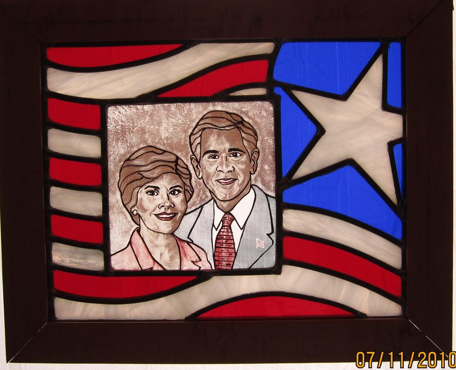 Stained Glass Painting - Texas Predident George Bush by Gladys Espenson