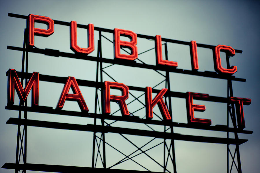 Text Public Market In Red Light Photograph