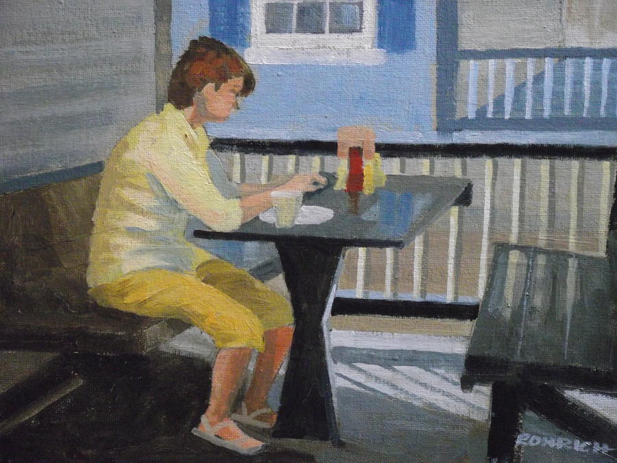 Texting At Breakfast Painting  - Texting At Breakfast Fine Art Print