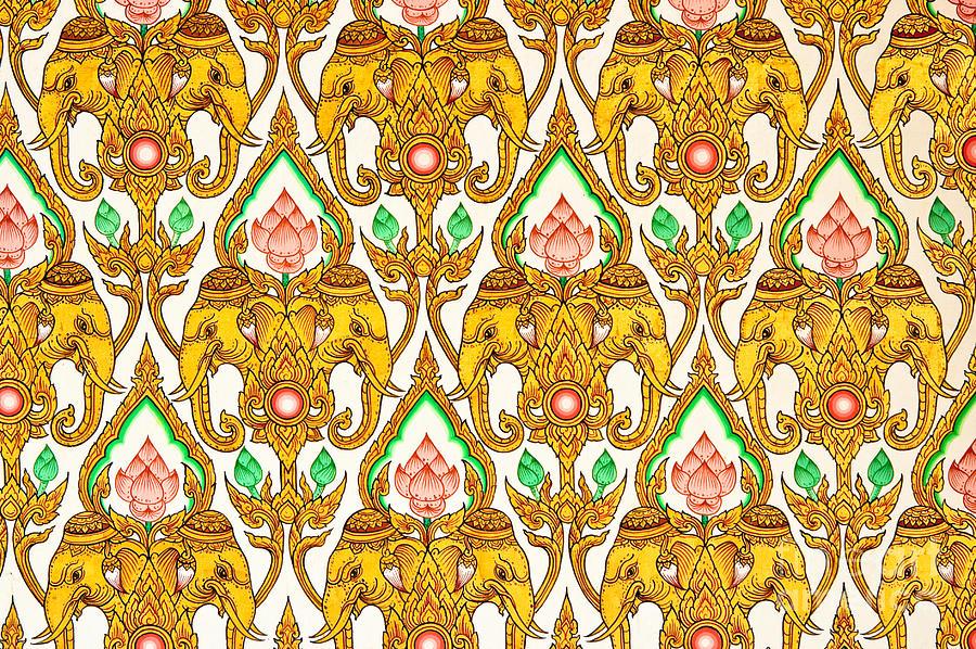 Thai pattern design painting by phalakon jaisangat Design patterns wall painting