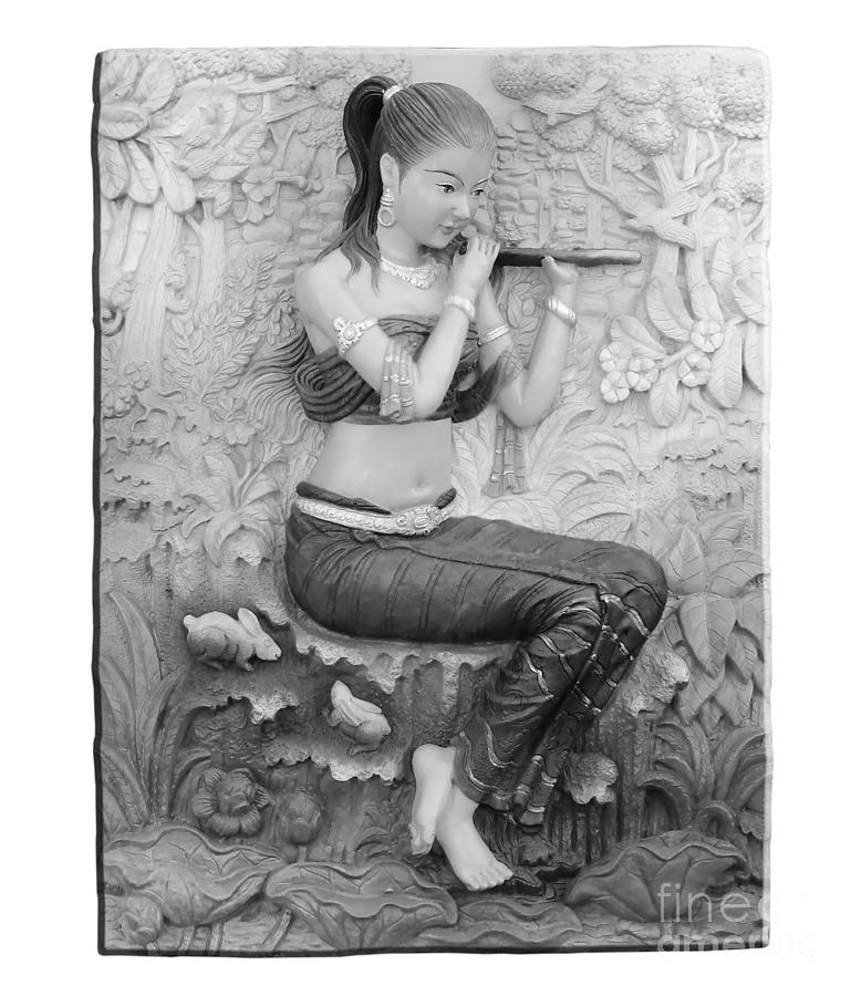 Thai Style Bas-relief Decorated On  Wall  Relief  - Thai Style Bas-relief Decorated On  Wall  Fine Art Print