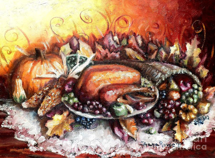 Thanksgiving Dinner Painting  - Thanksgiving Dinner Fine Art Print