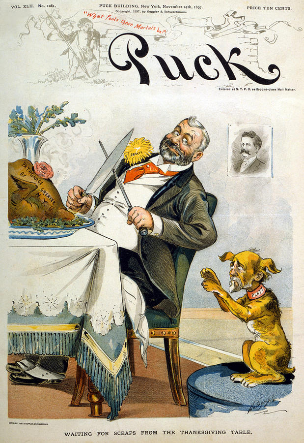 1890s Photograph - Thanksgiving, Puck Magazine Cover by Everett