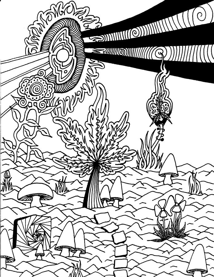 Trippy weed coloring pages the image for Coloring pages weed