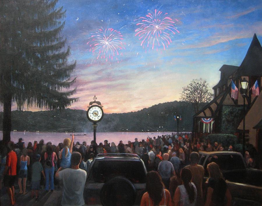 the 4th of July on Lake Mohawk Painting  - the 4th of July on Lake Mohawk Fine Art Print