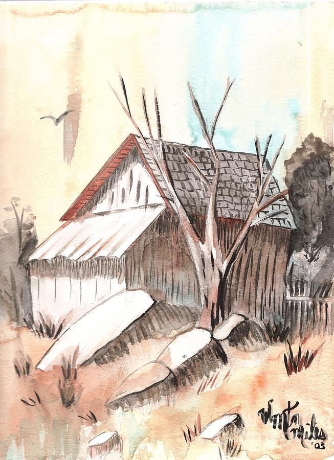 Wood Shed Painting - The Abandoned Woodshed by Windy Mountain