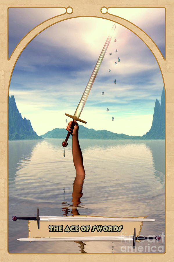 The Ace Of Swords Digital Art  - The Ace Of Swords Fine Art Print