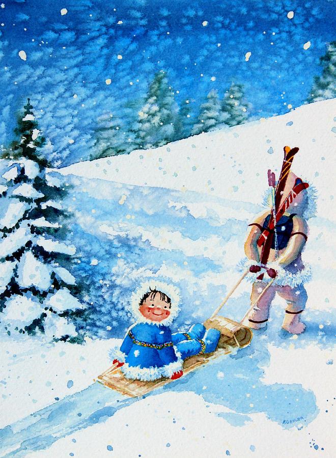 Kids Art For Ski Chalet Paintings Painting - The Aerial Skier - 1 by Hanne Lore Koehler