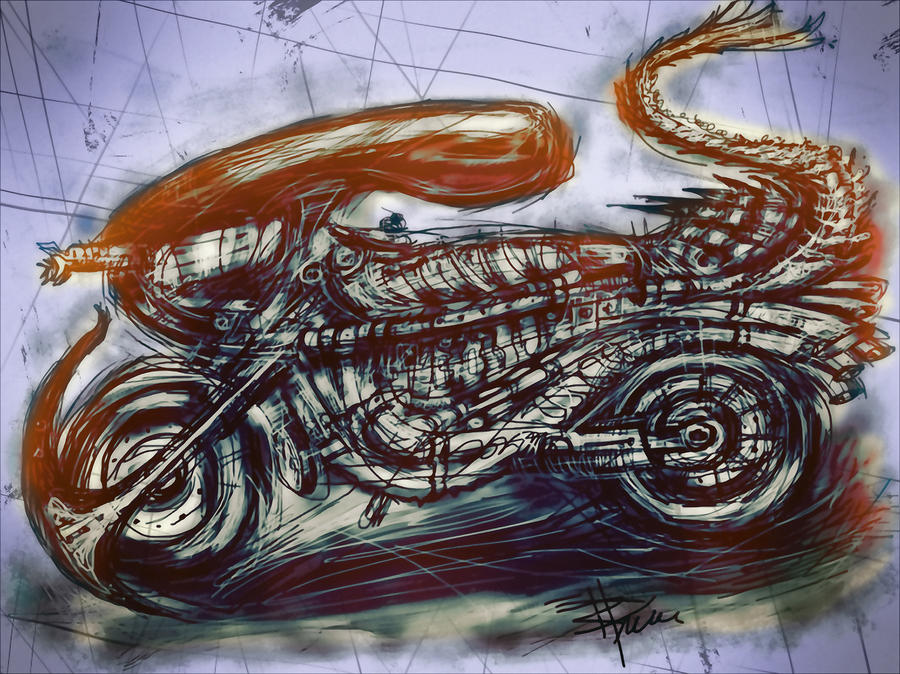 The Alien Bike Mixed Media  - The Alien Bike Fine Art Print