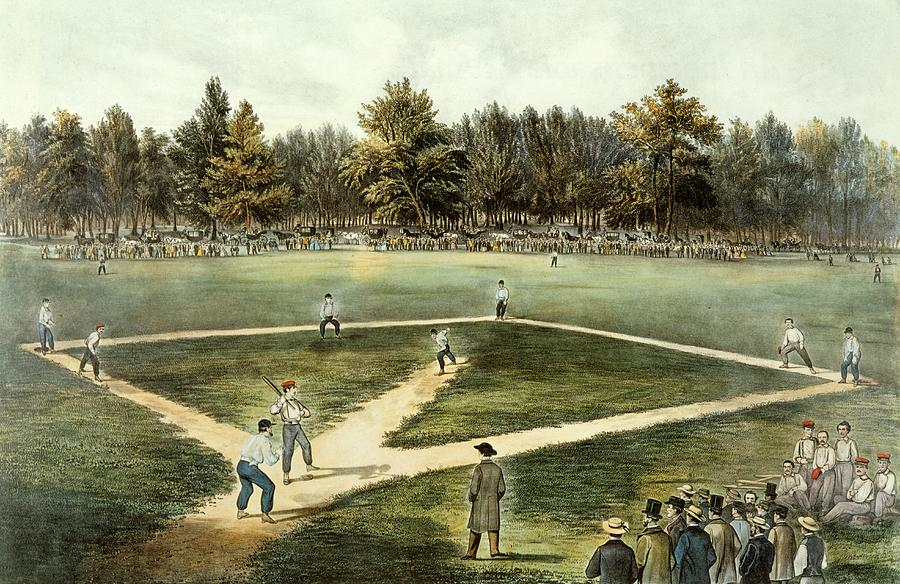 The American National Game Of Baseball Grand Match At Elysian Fields Painting