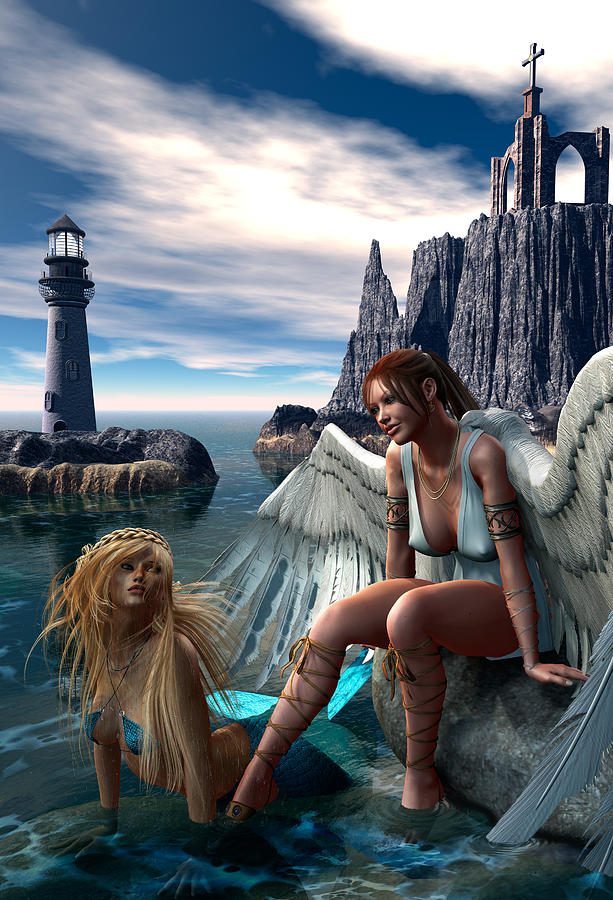 The Angel And The Mermaid Digital Art