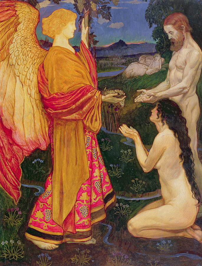The Angel Offering The Fruits Of The Garden Of Eden To Adam And Eve Painting  - The Angel Offering The Fruits Of The Garden Of Eden To Adam And Eve Fine Art Print