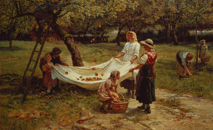The Apple Gatherers Painting  - The Apple Gatherers Fine Art Print